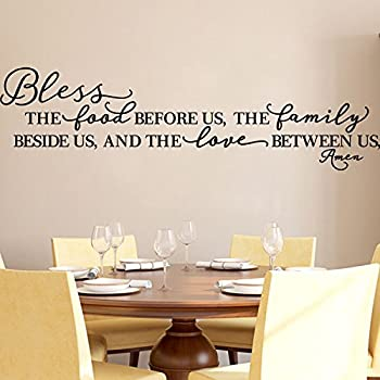Kitchen Wall Stickers Home Decor Dining Cooking Quote Decal Heart Removable Vinyl Art Decoration Bless The Food Before Us Family Beside