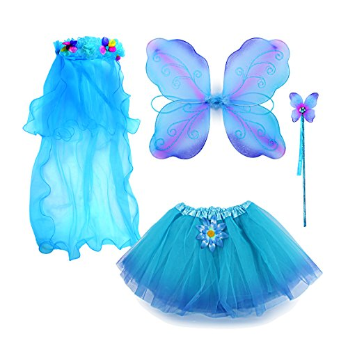 Fairy Costume, Sinuo Costume Set With Wings,Tutu,Wand and Veil Princess Set Fit Girls Age 3-8(Blue)