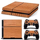 TURXIN PS4 Console and DualShock 4 Controller Skin Set - Wood Finish Brown- PlayStation 4 Vinyl