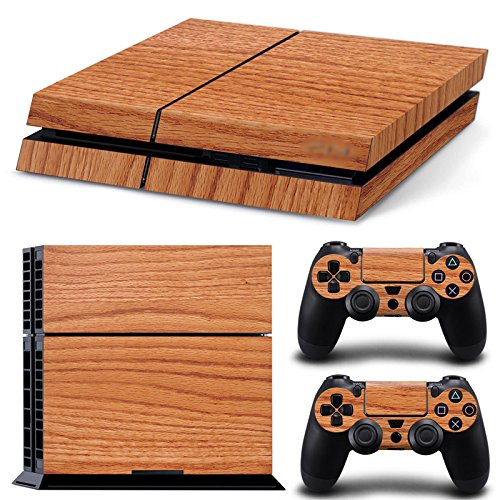 turxin-ps4-console-and-dualshock-4-controller-skin-set-wood-finish-brown-playstation-4-vinyl
