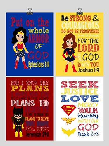 Superhero Set of 4 - Christian Wall Art Print - Supergirl, Batgirl, Wonder Woman - Bible Verse Nursery, Playroom or Kids Room Decor - Multiple Sizes