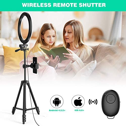 """10"""" Ring Light with 50"""" Tripod Stand and Phone Holder for Live Stream/Makeup, Desktop LED Camera Beauty Ringlight for YouTube Video Recording Compatible with iPhone 11 Xs Max XR Android(2020 Version)"""