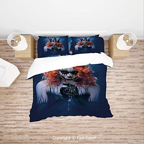 FashSam Duvet Cover 4 Pcs Comforter Cover Set Queen of Death Scary Body Art Halloween Evil Face Bizarre Make Up Zombie for Boys Grils Kids(King) -