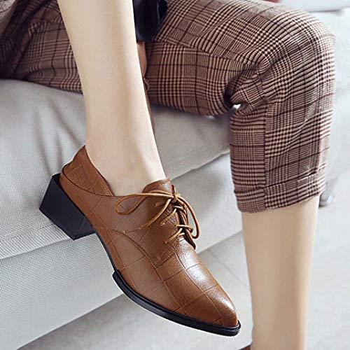 Chaussures Chaussures Hauts MSM4 458 Talons lacées Eté Pointu Mesdames Chaussures Printemps Sangles croisée Brown Talons Bouche à CtqT4w