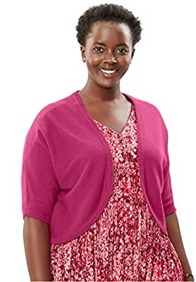 Women's Plus Size Rib-Trimmed Cardigan Sweater