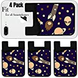 Liili Phone Card holder sleeve/wallet for iPhone Samsung Android and all smartphones with removable microfiber screen cleaner Silicone card Caddy(4 Pack) IMAGE ID: 18856453 Cartoon outer space elemen