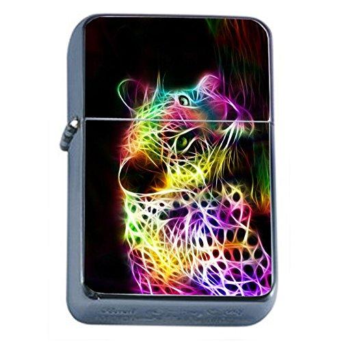 Neon Rainbow Cheetah Flip Top Oil Lighter Em1 Smoking Cigarette Silver Case Included