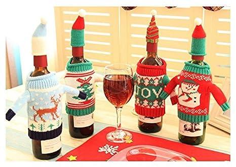 Funda para botella Glodenbridge, funda suéter para botella de vino, decoración navideña y bolsa de botella tejida de regalo.(Paquete de 4): Amazon.es: Hogar