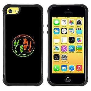 Suave TPU Caso Carcasa de Caucho Funda para Apple Iphone 5C / Superhero Black Minimalist Poster / STRONG