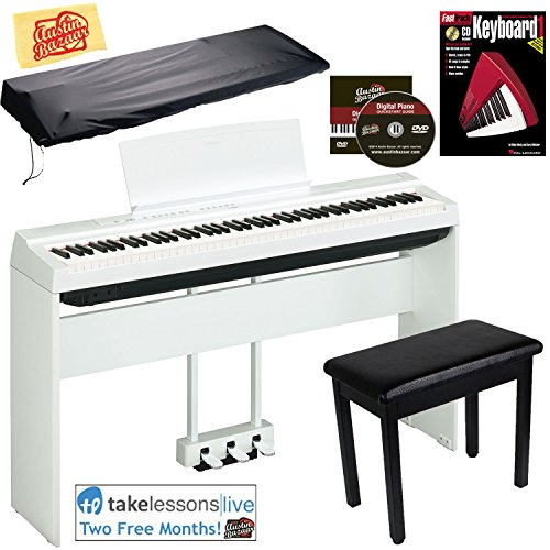 Yamaha P-125 Digital Piano - White Bundle with Yamaha L-125 Stand, LP-1 Pedal, Furniture Bench, Dust Cover, Instructional Book, Online Lessons, Austin Bazaar Instructional DVD, and Polishing Cloth