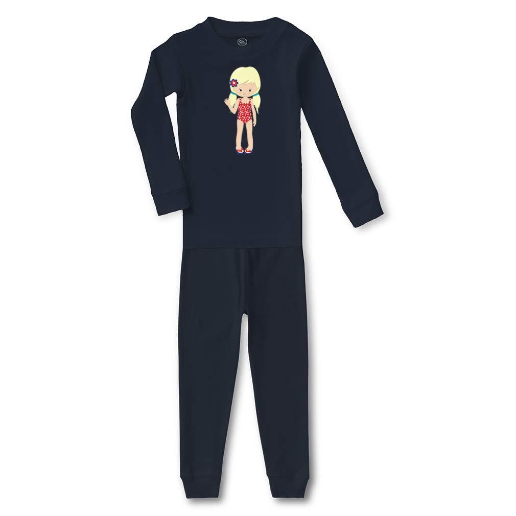 American Girl Blonde Swimming Suit Cotton Sleepwear Pajama 2 Pcs Set