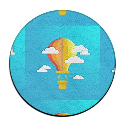 Velvet Hot Tub - BINGOING Mat Hot Air Ball With Cloud Soft Coral Velvet Circular General Purpose Floor Mat Or Rug Use In Front Of Bedroom, Kitchen,Vanity, Bath Tub, Living Room And Toilet