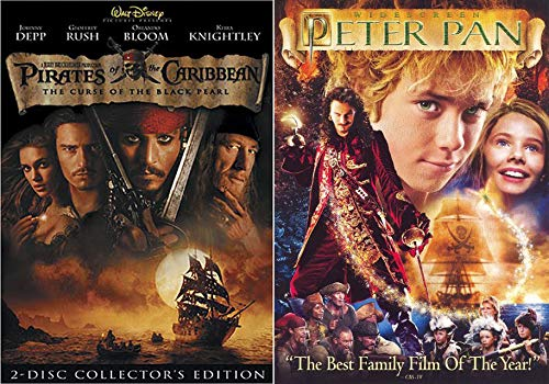 Double Pirates High Seas 2-Movie Bundle - Peter Pan Pirates of the Caribbean: Curse of the Black Pearl Collectors Edition Epic DIary of a ship & more DVD Features ()
