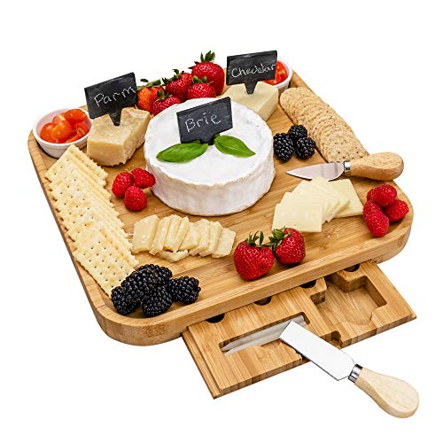Natural Bamboo Charcuterie Board Set - Cheese Board and Knife Set - Elegant Cheese Platter with Hidden Drawer - Wooden Cheese Tray with Knives, Bowls, Slate Tags, and Chalk - Anti-slip Design