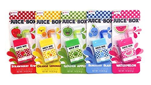 Taste Beauty 5PC Juice Box Flavored Lip Balm (Strawberry Kiwi, Orange Lemonade, Golden Apple, Blueberry Blast, Watermelon)