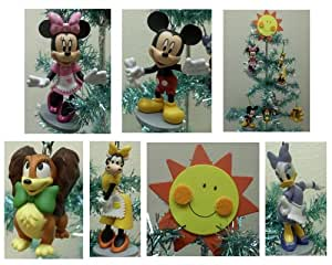 Mickey Mouse Clubhouse 7 Piece Holiday Christmas Tree Ornament Set Featuring Mickey Mouse, Minnie Mouse, Pluto, Fifi, Daisy, and Clarabelle