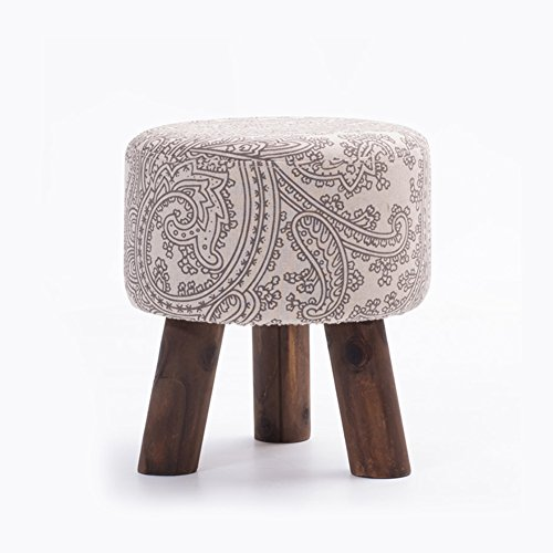 YQ WHJB Ottoman Footstool,Upholstered Footstool,Wood Legs Linen Fabric Cover Round Block Living Room Small Removable Change Shoe Bench-U by YQ WHJB