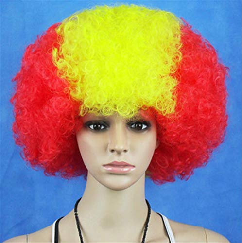 - Lovely Funny World Cup Fans Flag Colors Synthetic Hair Wigs Hallowmas Cosplay Masquerade Role Play Clown Costume Party Accessories with Free Wig Cap (Spain)