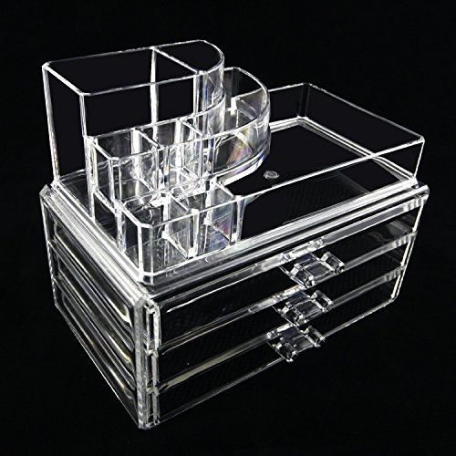 Beauty Acrylic Clear Cosmetic Holder Large 3 Drawer Jewer...