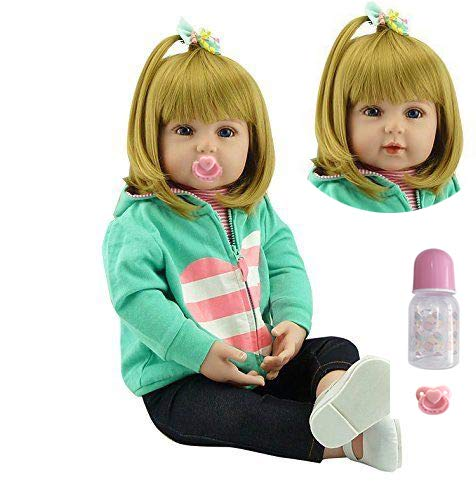 (Lovely 18''45cm Baby Doll Realistic Lifelike Looks Real Real Soft Silicone Vinyl Toddler Newborn Doll Toy Christmas Birthday Gift)
