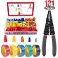 """Hilitchi Electrical Wiring Bundle kit with 175Pcs Wire Nuts Wire Connectors Screw Terminals, 8"""" Multi-Use Wire Stripper Crimper Cutter and 5 Rolls of Electrical Tape"""