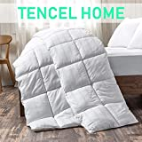 White Cotton Comforter Queen/Full Size, Cotton duvet for Cooling, Down Alternative Fill Quilted Duvet Insert, Fluffy, Warm, Soft & Hypoallergenic, Medium Weight for All Season Soft Quilted Down Altern