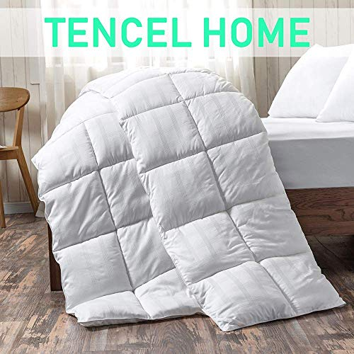 White Cotton Comforter Queen/Full Size, Cotton duvet for Cooling, Down Alternative Fill Quilted Duvet Insert, Fluffy, Warm, Soft & Hypoallergenic, Medium Weight for All Season Soft Quilted Down Altern (Cotton Comforters Queen)