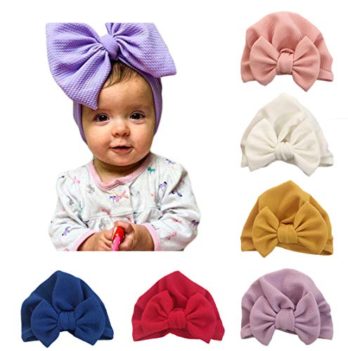 Baby Girl Hat with Rabbit Ears Bow Hat Toddlers Soft Turban Variety Knotted Hats Cap (niblet Bow (6pcs))