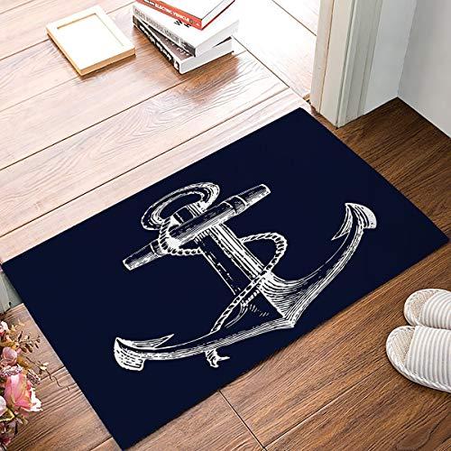 DaringOne White Nautical Anchor Navy Blue Door Mats Cover Non-Slip Machine Washable Indoor Bathroom Kitchen Decor Rug Mat Welcome Doormat 23.6x15.7inch