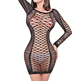 QueensHot Sexy Fishnet Long Sleeve Lingerie Babydoll Teddy BodySuit Stocking Leotard Mini Dress