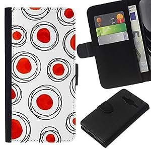 KLONGSHOP // Tirón de la caja Cartera de cuero con ranuras para tarjetas - Red Dot Polka blanco limpio - Samsung Galaxy Core Prime //