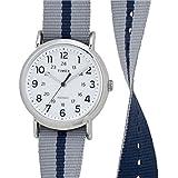 Timex Originals TW2P72300 Weekender Slip Thru Grey and Blue Stripe Reversible Strap Watch