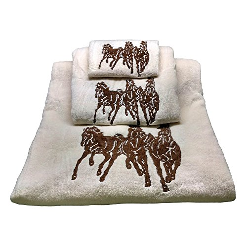 (HiEnd Accents 3-Horse Embroidered Western Towel Set, Cream )