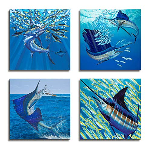 Wall Art For Bathroom Wall Decor Ocean Decor Nautical Beach Decor Fishing Net Decor Xiphiasgladius Tropical Fish Wall Picture For Living room - 4 Panel Canvas Art Framed Artwork For Home Bedroom Decor