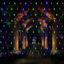 Christmas Lights Net,Y&M 200 LED 6.5×10ft Net String Lights Tree Trunk Wrap Lights with Tow Controlling Modes for Indoor and Outdoor Events Home Roof - RGB