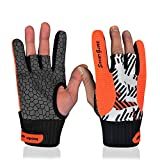 Professional Anti-Skid Bowling Gloves Comfortable Bowling Accessories Semi-Finger Instruments Sports Gloves Mittens for Bowling (Orange, M)