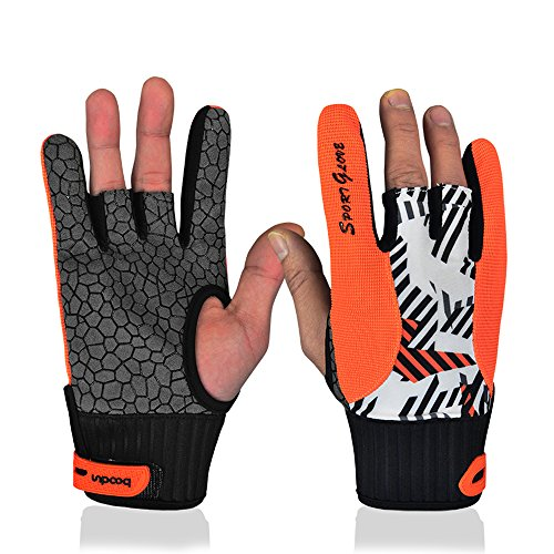 (Professional Anti-Skid Bowling Gloves Comfortable Bowling Accessories Semi-Finger Instruments Sports Gloves Mittens for Bowling (Orange, L))