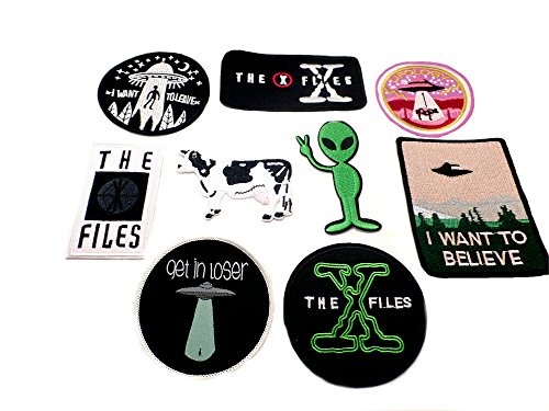 X-Files 9PK Assortment Horror Film Theme DIY Easy Iron/Sew-on Embroidered Patches By Superheroes Brand