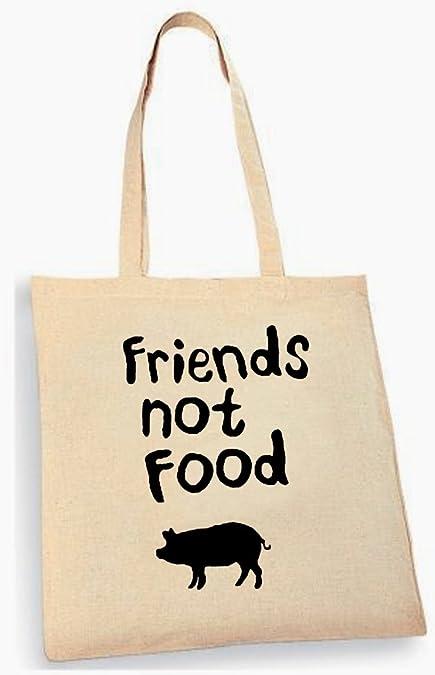 Friends Not Food Vegan Vegetarian Graphite Grey Tote Bag 38x42cm