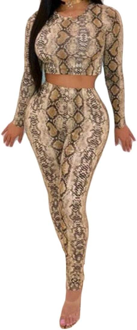 YYG Womens Long Sleeve Bandage Crop Top /& Skinny Pencil Pants 2 Pcs Leopard Print Club Jumpsuit Romper