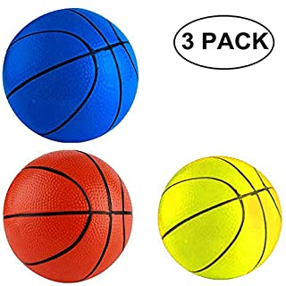 "Anzmtosn 6.29"" 16CM Beach Small Bouncy Balls Toddlers Replacement Rubber Basketball Sports Toy Basketballs for Pool Kids Baby Boys Girls Adults School Playground Indoor Outdoor Home Office(3PCS)"