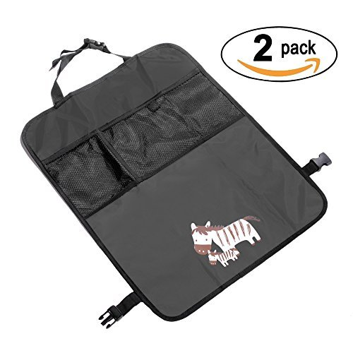 Kick Mats Car Seat Back Protectors with Mesh Pocket Organizer,Deluxe and Waterproof Oxford Material-2 Pack ()
