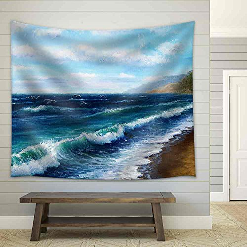 Original Oil Painting Showing Ocean or Sea Impressionism Marinism Fabric Wall