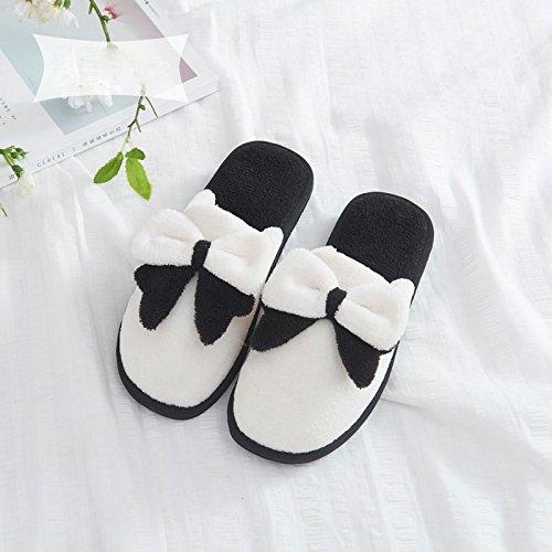 Plancher De à la Coton Anti Dérapant Et Chaud Pantoufles Épaisses Bois Pantoufles de Hiver Femelle de en D'Hiver Maison Blanc Pantoufles D'Automne Maison p1qOpTx7wS