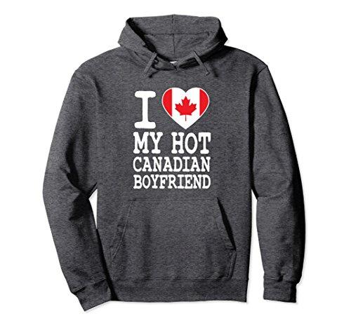 Unisex I Love My Hot Canadian Boyfriend Hoodie Medium Dark - Men Hot Canadian