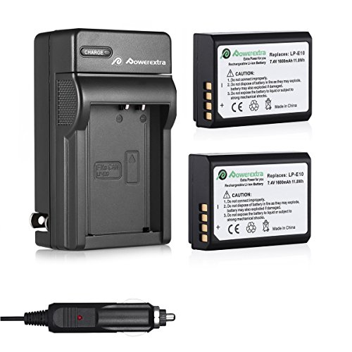 Powerextra 2 Pack Replacement Canon LP-E10 7.4V 1600mAh Li-ion Battery With Charger For Canon EOS Rebel T3, T5, T6, Kiss X50, Kiss X70, EOS 1100D, EOS 1200D, EOS 1300D Digital SLR Camera