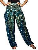 Lofbaz Women's Peacock Print Smocked Waist Harem Pants Teal Green M offers