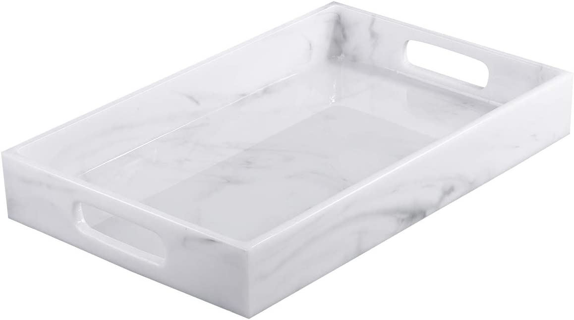 Lewondr Serving Tray, 15 Inch Large Resin Tray Decorative Vanity Storage Organizer Tray with Handles for Beverage Food Wine Tea Toiletry Jewelry Desk Coffee Tablet Waterproof - White Marble