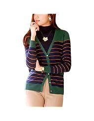 Ladies V Neck Long Sleeve Striped Comfortable Cardigan