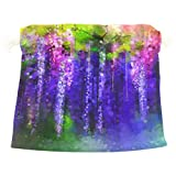 Sunlome Violet Red And Yellow Flowers Watercolor Gift Bags Jewelry Drawstring Pouches for Wedding Party, 5.5x5.5 Inch